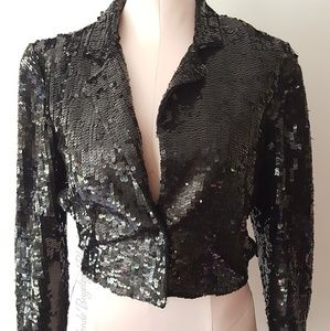 Vintage black cropped sequin jacket size small